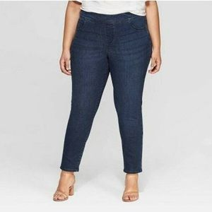 Dark wash pull-on skinny jeggings Plus size